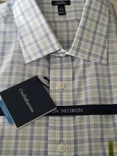 Croft & Barrow Classic Fit Non Iron Dress Shirt Blue Plaid 161/2 34/35 NWT