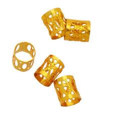 100pcs 8mm Dreadlock Beads Dread Hair Braid Adjustable Cuff Tube Clip Gold E99