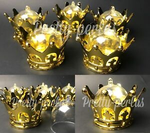 12-Baby Shower Favors Fillable Gold Crowns Party Decorations Girl Boy Gifts