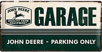 John Deere Garage Grande Goffrato Segno Del Metallo 500mm x 250mm (Na)