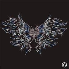 Butterfly Rhinestone Diamante Transfer Iron On Hotfix Gem Crystal T Shirt Motif