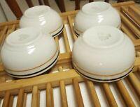 4 SHENANGO CHINA RESTAURANT WARE  CHILI BOWLS  Black & Brown Mustard Stripes