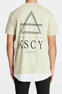 NEW Kiss Chacey Kiss Chacey MENS SAVE US RELAXED LAYERED HEM TEE - PIGMENT SAND