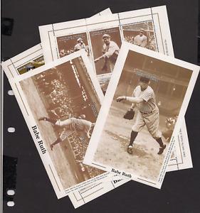 BABE RUTH baseball 4 Souvenir Sheets Comoro Guinea Mint NH