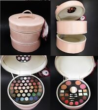 69 PC BEAUTY BOX PEARL PINK BLOSSOM VINYL TRAVEL,MAKEUP,COSMETIC BAG-2 SECTION