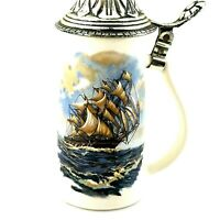 Vtg Clipper Ship Beer Stein with  Pewter Lid Nelson McCoy USA Nautical Maritime*