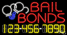 """New """"Bail Bonds"""" 32x17 w/Your Phone Number Solid/Animated Led Sign 25044"""