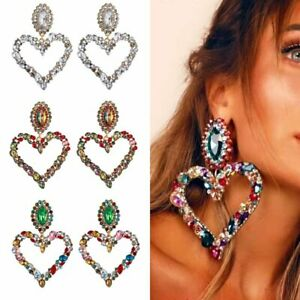 2020 Colorful Full Crystal Big Heart Earrings Drop Dangle Women Statement Gifts