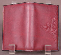 Genuine Leather Wallet-Stamped-Floral-Brown-Bifold-Travel-I.D.-Billfold-Money...