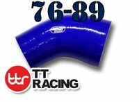 Silicone 45 Degree Reducer Elbow Hose Pipe 76mm to 89mm 3 - 3.5 inch Blue