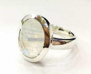 Natürlich Regenbogen Mondstein Mit 925 Sterlingsilber Ring für Herren EG1151