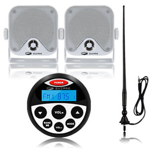 Bluetooth Marine Stereo Receiver Boat Radio Hanging Waterproof Speakers +Antenna
