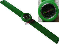 MONTRE ENFANT ADULTE FEMME ICE BRACELET SILICONE SLAP CLAP VERT F. FASHION WATCH