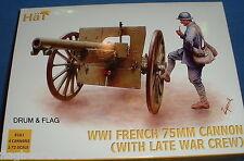 Hat 8161-WW1 française 75mm cannon & fin guerre équipage échelle 1:72 non peinte figures.