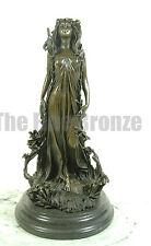 SIGNED Nick.bronze statue art nouveau deco flower girl