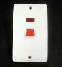 45 Amp Double Pole 2 Gang Cooker Switch Vertical Neon. White PVC EM5044