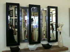 NEW LARGE BLACK/SILVER 5 PANEL WALL MIRROR 105 X 76 CM