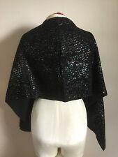 "Vintage 1960's Black Velvet Rayon Glitter Stripe Shawl Wrap Oblong 17� X 64"""