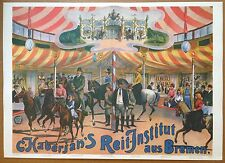 Vintage Fairground RIDING SCHOOL poster  magician conjuring circus germany