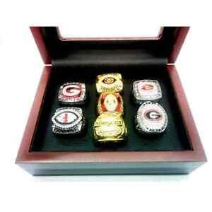 7 PCS + BOX Georgia Bulldogs Championship rings NCAA