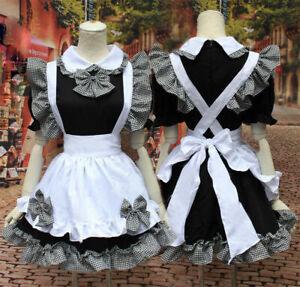 Black Women Lolita Maid Dress Waitress Party Amine Cosplay HalloweenCostume UK*-