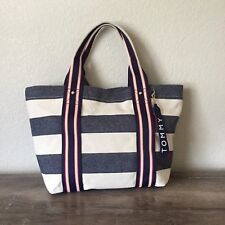NWT Tommy Hilfiger Canvas Tote Blue White Beach Bag Vacation