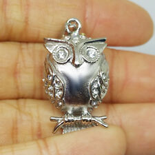 """""""Owl on Perch"""" Cremation Urn Necklace Stainless Steel Urn Pendant Ash Holder"""