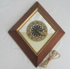 Vtg MCM Wall Clock Wood Diamond Shape Black Gold Mirror Borin 30s 40s 120V AC