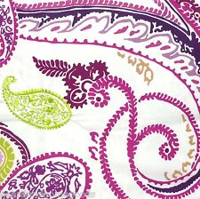 Paisley TWIN XL DUVET COVER 2pc SET Cynthia Rowley Reversible Purple Green DORM