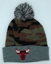 ceb1230e7af NBA Chicago Bulls Mitchell   Ness M N Cuffed Camo Pom Knit Hat Cap Beanie   KP33Z