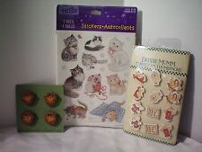 Crafters Lot Stickers Thumbtacks Buttons