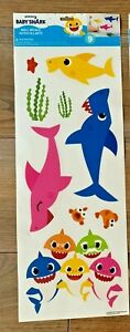 9 Piece Baby Shark & Fish Theme Removable Wall Decals NEW 1 Sheet! Pinkfong