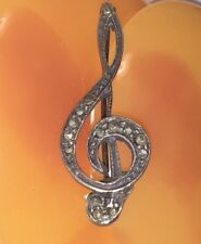 Clef Pin with Marcasites, Marked Sterling Music G Clef Treble