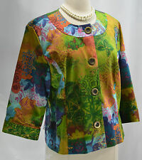 Coldwater Creek NEW Colorful geo floral lined suit Jacket light Coat blazer 14P