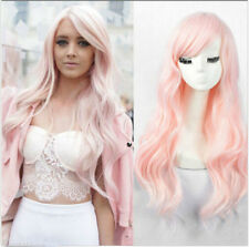 Women's Fashion long curly Synthetic light pink hair Wavy no Lace Wig full wigs