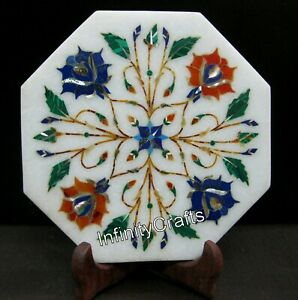 6 Inches Decor Plate with Multi Color Stone Inlaid Marble Plate for Home Decor