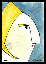 """Blond"" 2014 ORIGINAL ACEO miniature Abstract WOMAN Portrait OIL PAINTING SIGNED"
