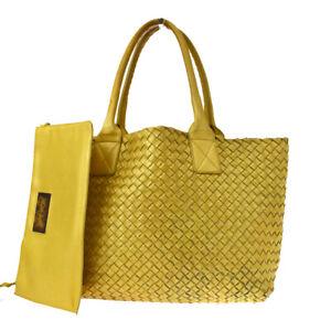 Authentic BOTTEGA VENETA Intrecciato Shoulder Bag Leather Yellow Italy 77MF702