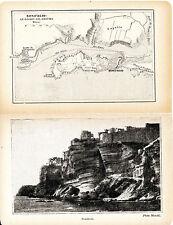 Corse Bonifacio 1929 plan ville, photos (5) + guide (11 p.) grottes marines