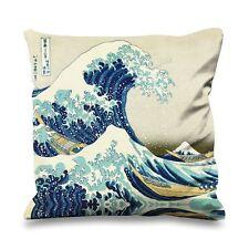 Hokusai great wave off kanagawa fausse soie 45cm x 45cm canapé coussin