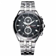 Mens Watch Black Silver Boys Smart Analogue Watches Business Gift Present UK