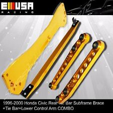 EMUSA 1996-2000 Honda Civic Rear Lower Control Arm Subframe Brace Tie Bar Gold