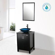 "24"" Bathroom Vanity W/ Square Glass Vessel Sink Set Black Faucet Drain Combo"