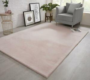 Natural Faux RABBIT FUR Soft Wool Shaggy Thick Large Rugs Carpet Mat Blush Pink