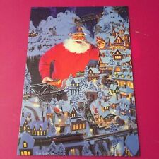 Leanin' Tree Christmas Card -  Santa, & Model Train Theme - Inventory #790
