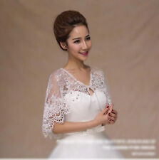 New Ivory Wedding Lace Shawl Rhinestone Womens Girl Prom Party Cape Wraps Lacing