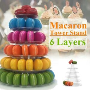 6 Tier Macaron Tower PVC Plastic Stackable Cupcake Holder Stand, Wedding Decor