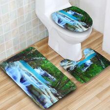 3Pcs 3D Waterfall Nature Scenery Mat Lid Toilet Cover Rug Bathroom Decor Doormat