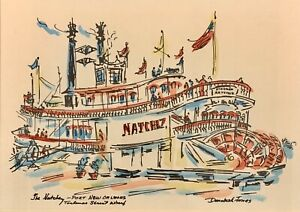 Donabeth Jones 1921-2011 Watercolor Painting The Natchez Port New Orleans Signed