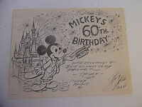 Disney - Mickey's 60th Birthday 9 x 12 B & W Print Inscribed/Signed Harry Holt